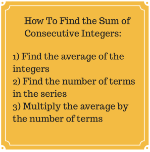 SAT ACT Sum of Consecutive Integers
