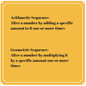 SAT ACT Prep Arithmetic Geometric Sequences